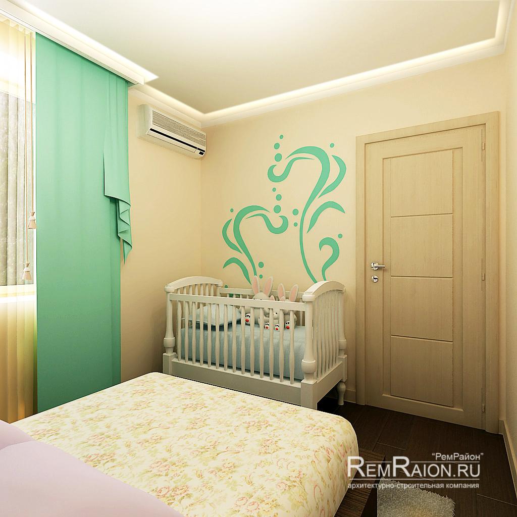 Взрослая спальня с детской кроваткой дизайн фото